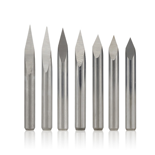 3 Edge Pyramid Engraving Bits 10pcs 20/30/40/45/60/90 Degrees Tip 0.1-0.3mm 3.175mm Shank CNC 3D Milling Cutter