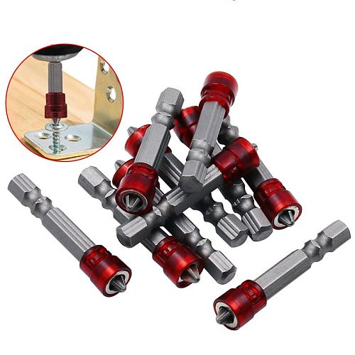 1/4  Screwdriver Bits Red Head Magnet Driver Hex Shank With Magnetizer Cross Magnetic Bit Hand Electric Screw Tool Accessories