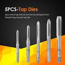 5pcs Hss Machine Screw Thread Screw Taps M3 M4 M5 M6 M8 Spiral Thread Right Hand Tap Drill Tapping Metric Plug Tap Set Die Tools