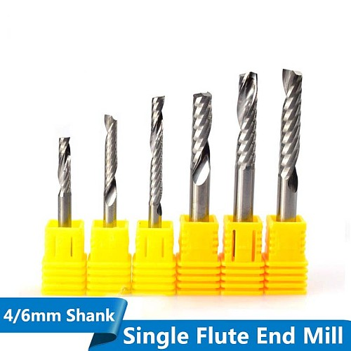 1pc Single Flute Spiral End Mill Carbide Milling Cutter CNC Router Bit Straight Shank End Mills