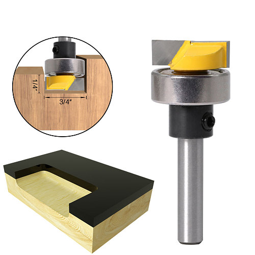 6mm shank 1/4  Shank Template Trim Router Bit - Bottom Cleaning 3/4 W X 1/4 H Woodworking cutter Tenon Cutter for Woodwork