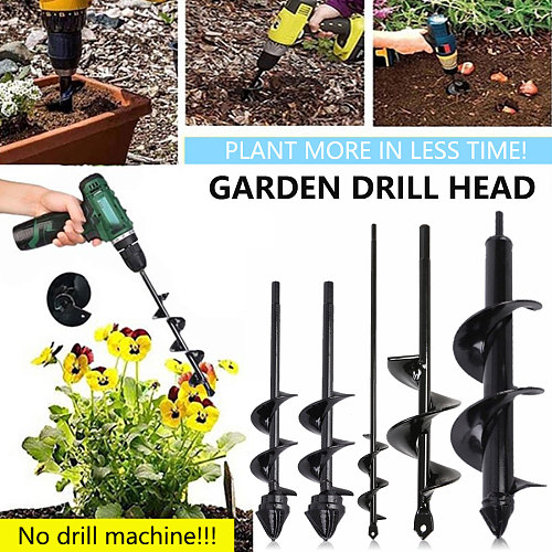 Earth Drill Ice Drill Garden Auger Spiral Drill Machine Bit Flower Planter Auger Yard Gardening Planting Hole Digger Tool