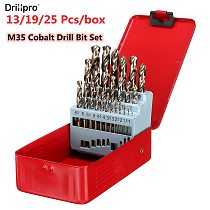 Drillpro 13/19/25pcs M35 Cobalt Drill Bit Set HSS-Co Jobber Length Twist Drill Bits With Metal Case For Stainless Steel Wood