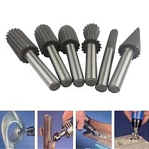 6pcs 6mm Engraving Bit Milling Cutter Burr Rotary Burr Set HSS Rotary Files For Metal Plastic Wood Electric Grinding Cutter File