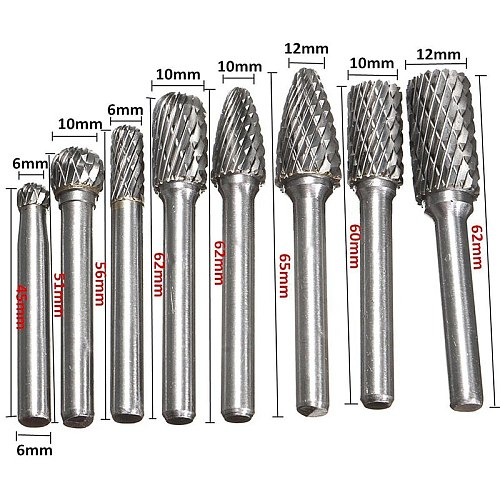 8pcs/set 1/4  6mm Tungsten Carbide Burrs Bits Metalworking Rotary Cutter Files CNC Engraving Hand Tool
