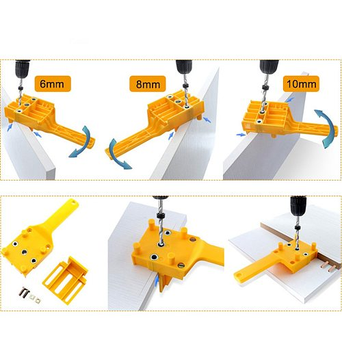 Pins Doweling Jig Drill Locator Woodworking Tool Mini Plastic Dowel Joints Hole Saw Tools Handheld Drill Guide with Metal Sleeve