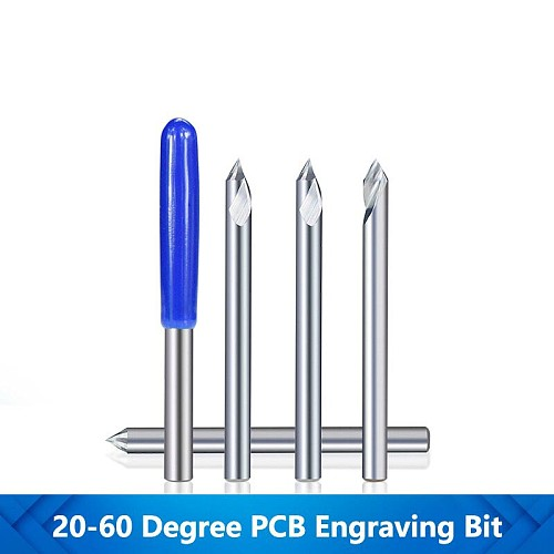 PCB Engraving Bit 3D Router Bits 3.175mm Shank Milling Cutter Tungsten Carbide Router Bits 20-60 Degrees Tip Router Cutter Bits