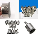 15 Pcs Diamond Coated Drill Set Hole Saw Drill Bit Set Core Bits Drilling Tools 6mm-50mm For Glass Ceramic Tile Marble