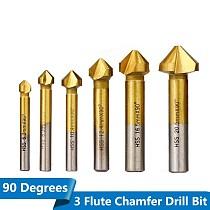6pcs 90 degree 3 Flute Chamfer Drill Bit HSS Chamfering End Mill Charmfer Cutter Countersink Drill Bit