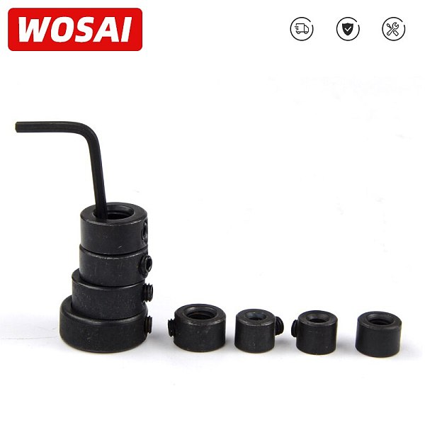 WOSAI 8Pcs Drill Depth Stop Collars Ring Dowel Shaft Chuck 3/4/5/6/8/10/12/16mm+ Hex Wrench Woodworking