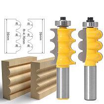 1pc 1/2 shank 12mm shank High Quality Triple Bead Column Molding Router Bit Tenon Cutter Woodworking Milling Cutters