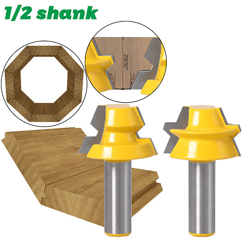 2pc Lock Miter Router 22.5 Degree Glue Joinery Router Bit - 1/2  12mm Shank 8mm shank Woodworking cutter Tenon Cutter for Wood