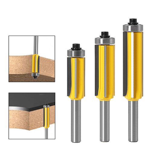 3pc 8mm Flush Trim bit Z4 Pattern Router Bit Top & Bottom Bearing Bits Milling Cutter For Wood Woodworking Cutters