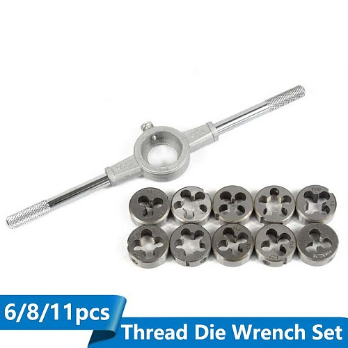 6/8/11pcs Metric Die Wrench Sets Circular Die Kit Screw Thread Taps and Die Hand Tapping Tools