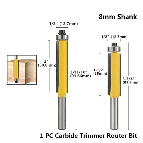 Hampton 1pc 8mm Shank Trimmer Router Bit For Wood Flush Trim Router Bit With Bearing Guided Carbide Milling Cutter