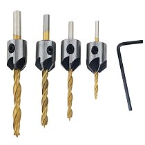 4PCS 3mm-6mm Steel Countersink Drill Bit Carpentry Woodworking Boring Tool Round Shank With Hex Key