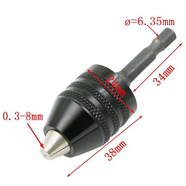 1pc 0.3-8mm Black Keyless Drill Chuck Screwdriver Impact Driver Adaptor 1/4  6.35mm Hex Shank Drill Bits Diameter Power Tools