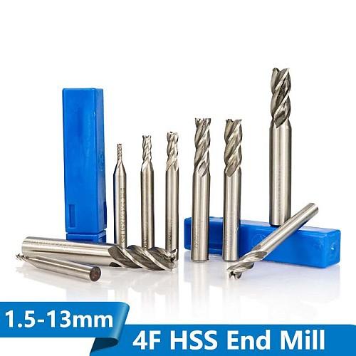 1pc Diameter 1.5-13mm HSS End Mills 4 Flute Straight Shank End Milling Cutter