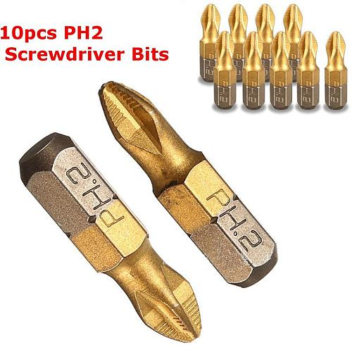 10pcs/set Electric Screwdriver Bits Drill Bit Shank Titanium Coated Screwdriver Bits PH2 25mm For Power Tools High Quality