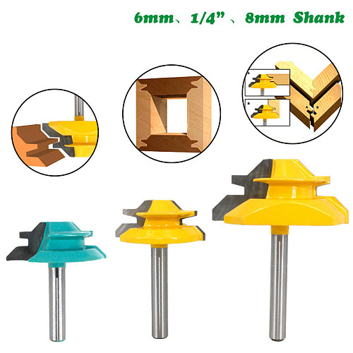 1Pc 1/4  Shank 6.35MM 8MM 45 Degree Lock Miter Router Bit Tenon Milling Cutter Woodworking Tool For Wood Tools MC01 MC