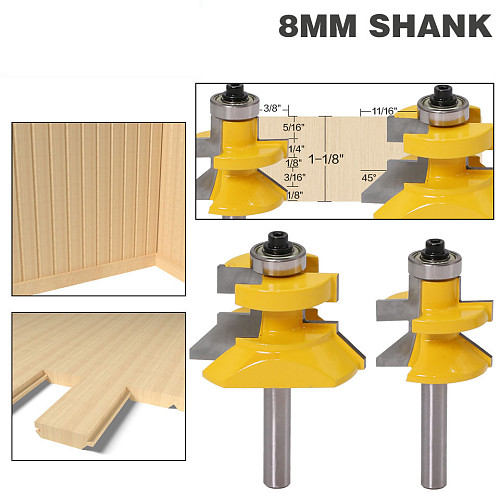 2pc8mm  Shank V Groove & Matched Tongue Router Bit Set w/ premium ball bearings Woodworking cutte