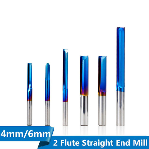 1pc 4mm/6mm Shank Nano Blue Coated Straight End Mill Carbide Milling Cutter For Wood, PVC, Plastic CNC Engraving Router Bit