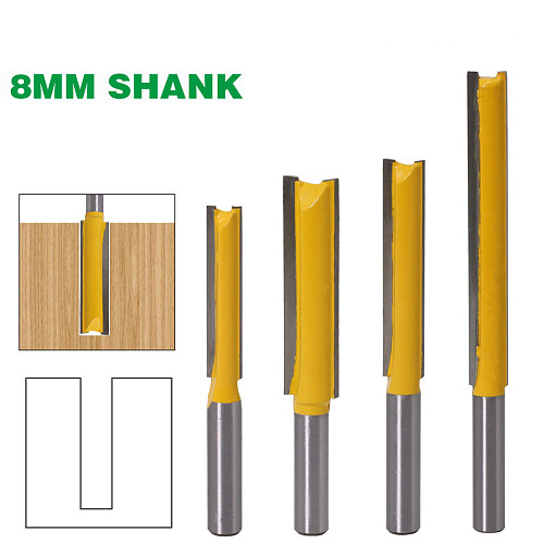 1 pc8mm Shank Extra long 3  Blade 8mm  Cutting Dia. Straight Router Bit Woodworking cutter Tenon Cutter for Woodworking
