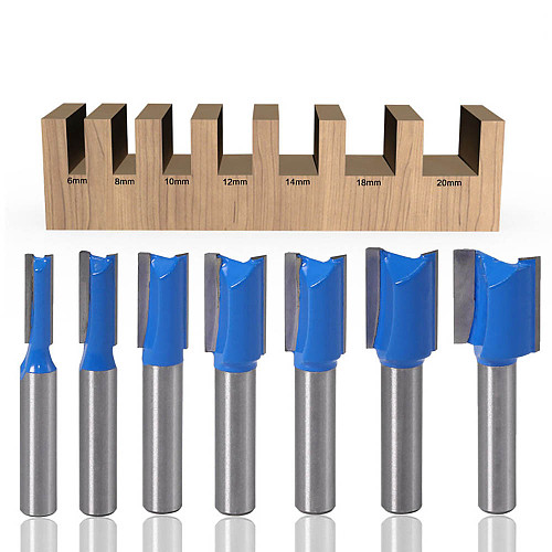 1PC 8mm Shank Slotted Straight Woodworking Router Bit Wood Cutter Cutting Diameter Carpenter Milling Cutter Woodworking Tool