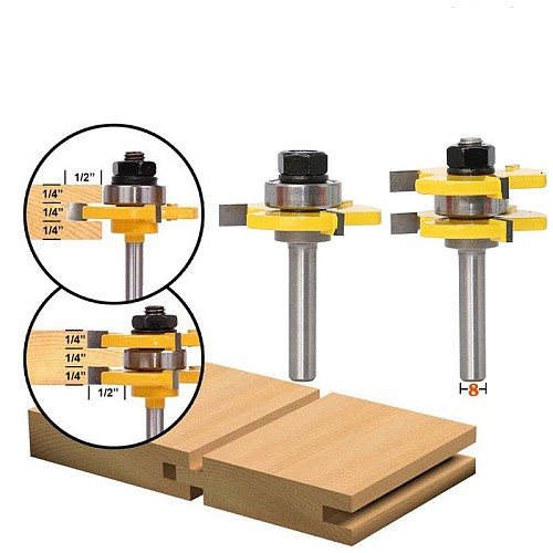 2 pc 8mm Shank high quality Tongue & Groove Joint Assembly Router Bit Set 3/4  Stock Wood Cutting Tool - RCT