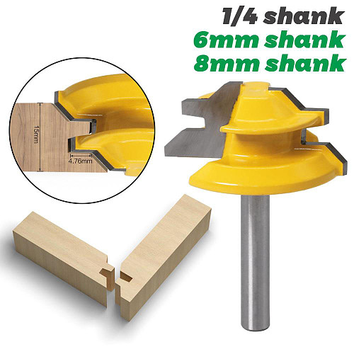1Pc 45 Degree Lock Miter Router Bit 6mm 1/4  Shank Woodworking Tenon Milling Cutter Tool Drilling Milling For Wood Carbide Alloy