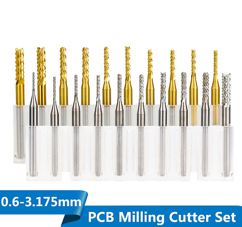 10pcs 0.6-3.175mm Carbide PCB Milling Cutter Set 3.175mm Shank PCB Machine Engraving Bit End Mill