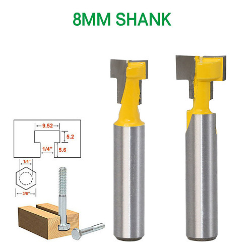 2pcs 8mm Shank T-type Keyhole Router Bits for Wood Milling Cutter Woodworking Tools Wood Cutter Frame Hanging Wall Cutting Tools