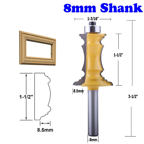 1pc 8mm Shank 1-1/2  Miter Frame Molding Router Bit Line knife Door knife Tenon Cutter for Woodworking Tools