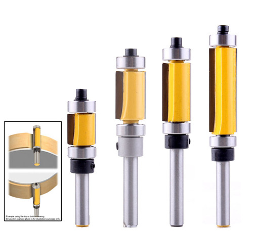 1pc Flush Trim Pattern Router Bit 1/4  Shank Panel Top &Bottom Bearing Woodworking Milling Cutter