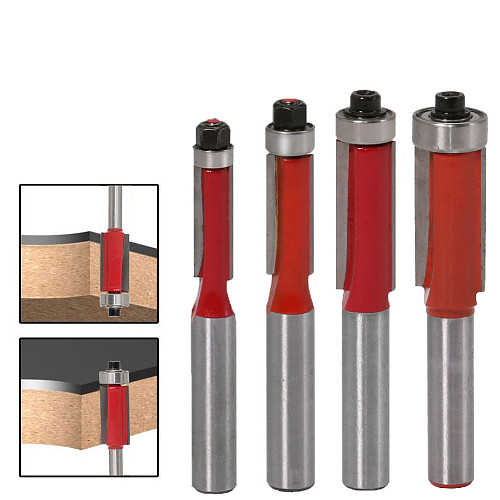 1pcs 8  Shank  Flush Trim Router Bits for wood Lengthened Trimming Cutters with bearing woodworking tool endmill
