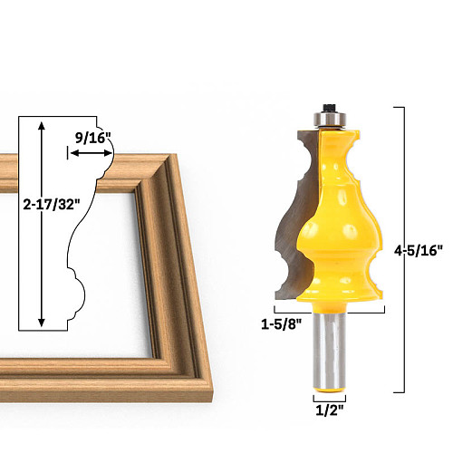 1pc 1/2  Shank Large Elegant Picture Frame Molding Router Bit door knife Woodworking cutter Tenon Cutter for Woodworking Tools
