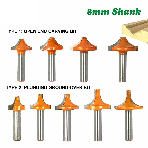 1pc 8mm Shank Round Open End Carving Router Bit Plunging Round Over Shaker Bit Woodwork Milling Cutter for Wood 02095