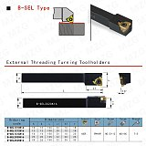MZG 12*12 16*16 20*20 B-SEL2020K16 CNC Lathe Machining Cutter External Threaded Toolholder Threading Thread Turning Tools Holder