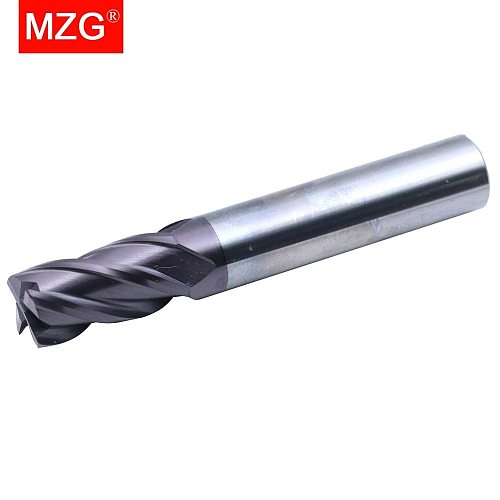 MZG Cutting HRC55 4 Flute 0.5mm 1mm Milling Machining Tungsten Steel Spiral Tools Milling Cutters Round Ball Nose End Mill