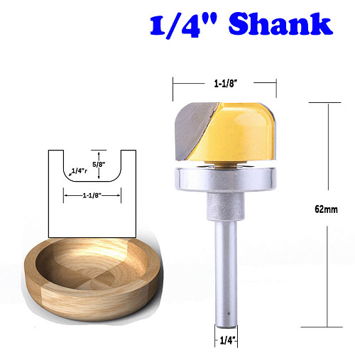 1PC 1/4  Shank 1-1/8  Diameter Bowl & Tray Template Router Bit