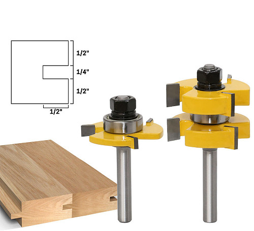 2pc 8mm Shank Tongue & Groove Router Bit Set - Large Stock up to 1-1/4  Woodworking cutter Tenon Cutter for Woodworking Tools
