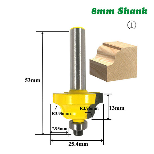 1pc 8mm Shank Wood Router Bit Straight T V Flush Trimming Cleaning Round Corner Cove Box Bits Milling Cutter for Wood MC02042
