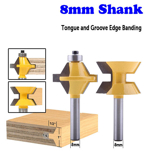 2PC 8mm Shank Tongue and Groove Edge Banding Router Bit Set Wood Cutting Tool
