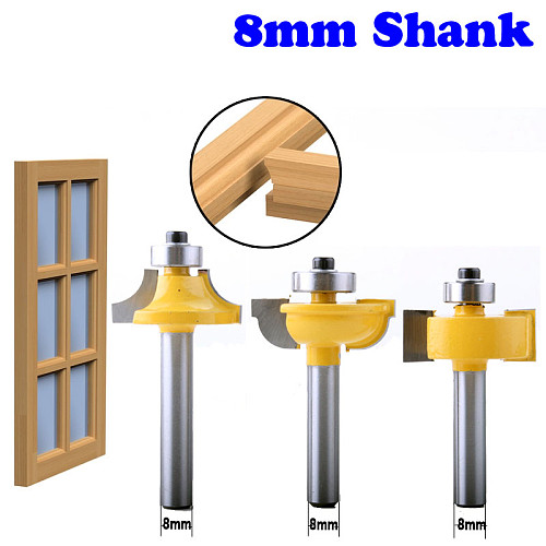 3PC 8mm Shank Glass Door Router Bits Round-Over Bead Set w/ cutter Tenon Cutter for Woodworking Tools