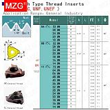 MZG American Standard 16IRM14 16IRM18 UN ZM860 CNC Internal Stainless Steel Turning Threading Tool Carbide Screw Thread Inserts