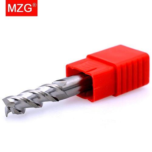 MZG 1PCS  Aluminium Copper  3 Flute Cutting 75L 100L 150L HRC55 CNC Router Tungsten Steel Sprial Bit Milling Cutter End Mill