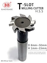 BB T Slot Milling Cutter for Metal HSS Woodruff Key Seat Router Bit Thickness 1-12mm Diameter 8-50mm