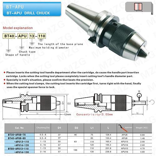 MZG BT3 APU16 110 Face Metal Machining Processing Mill Machine Milling Cutter Shank Tool Holder Drill Chuck