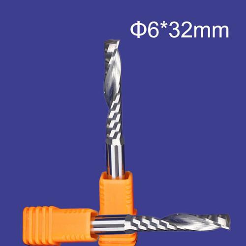 5 pcs Carbide endmill single flute spiral CNC router bits 6mm 32mm
