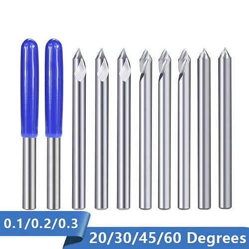 Engraving Bit 3.175mm Shank End Milling Cutter 20/30/45/60 Degrees Tip 0.1 0.2 0.3mm Carbide 3D Milling Bit